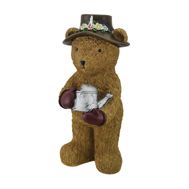 12 In. Indoor/Outdoor Garden Bear W/Watering Can Outdoor Statues