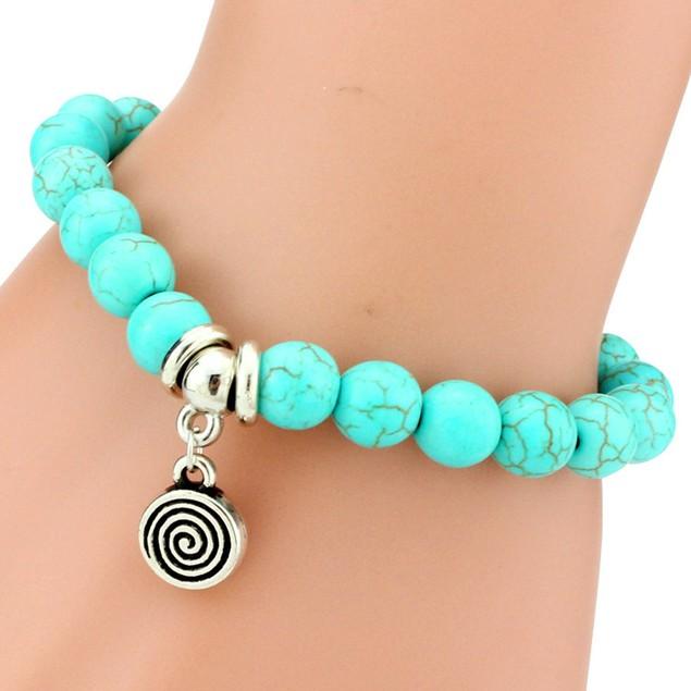 Snail Charm Turquoise Stone Bracelet