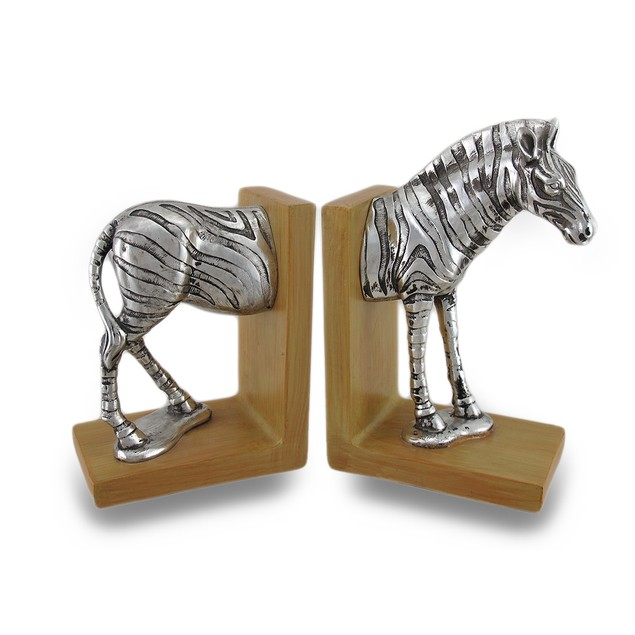 Antique Silver Finish Zebra Top And Tail Wood Look Decorative Bookends
