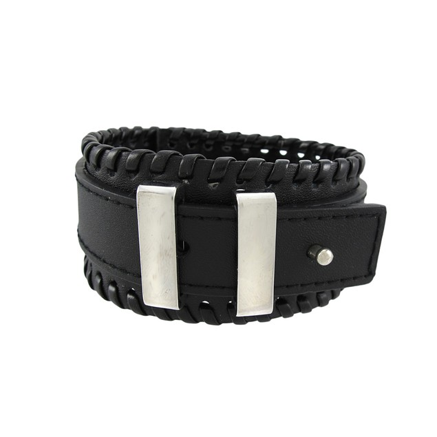 Black Leather Buckle Strap Wristband Chrome Mens Leather Bracelets