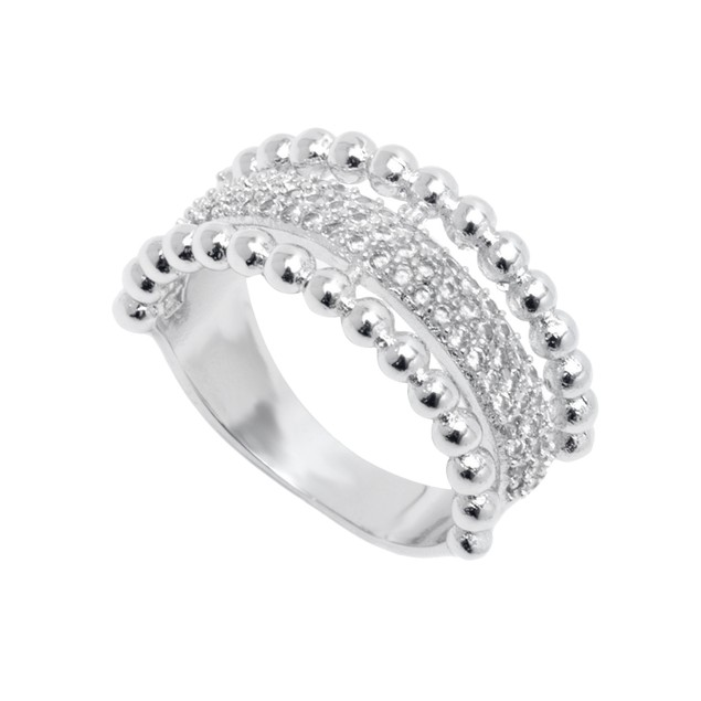 White Gold Plated Bead & CZ Ring