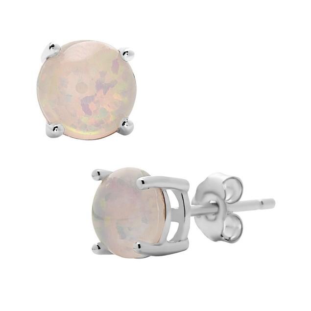 Sterling Silver Opal Stud Earrings - 3 Colors