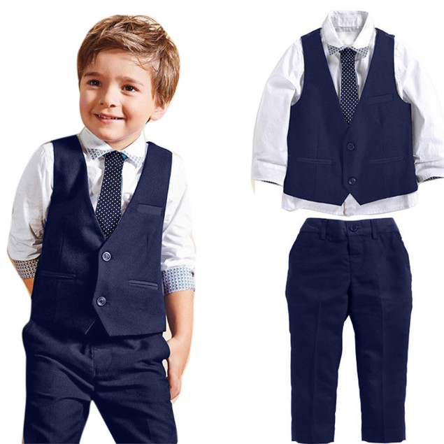 Boy Gentleman Shirt, Waistcoat, Long Pants, and Tie Outfit