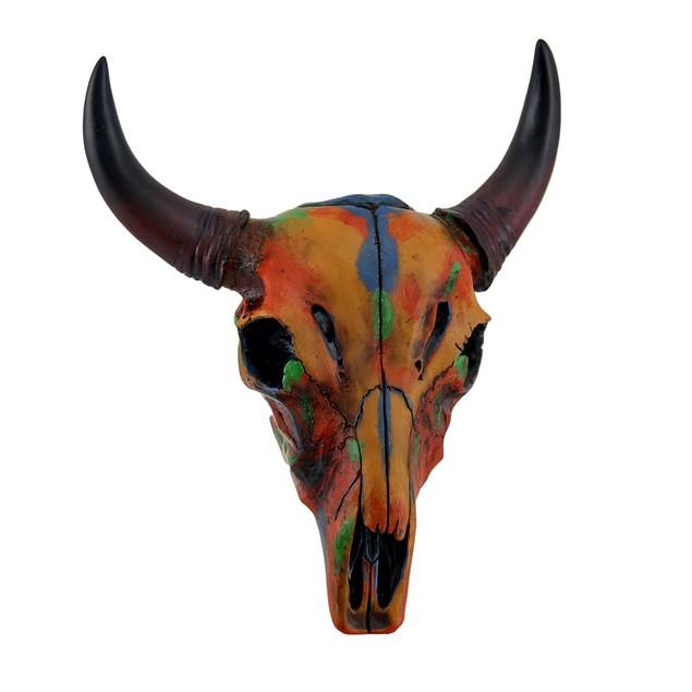 Colorful Orange Tie Dye Steer Skull Wall Hanging Wall Sculptures