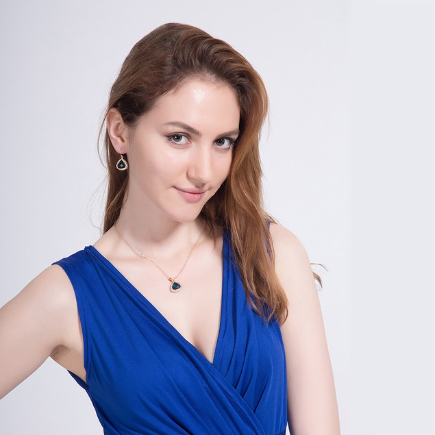 Gold Plated Modern Sapphire Necklace & Earrings Set