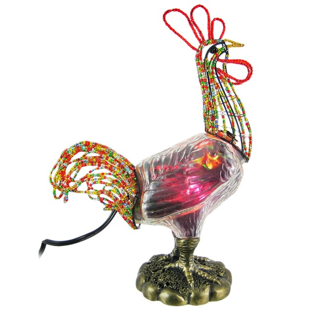 Beaded Stained Glass Rooster Accent Lamp Chicken Accent Lamps