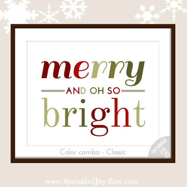 """Merry and Oh So Bright Christmas Print, 8""""x10"""" - 4 Styles"""