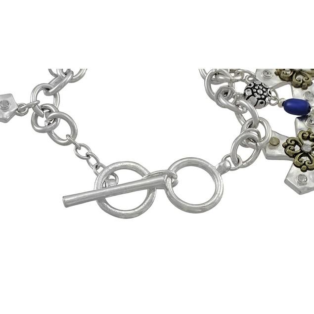 Silver Tone Cross Charm Bracelet With Toggle Clasp Womens Clasps Bracelets