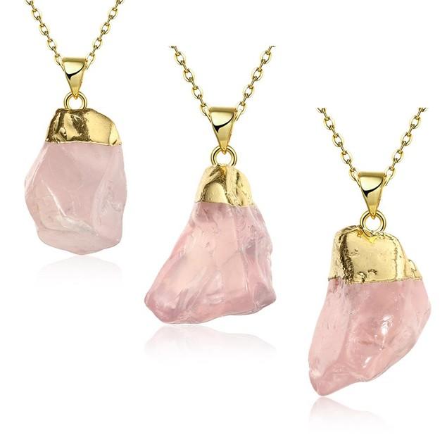 Rose Quartz Natural Crystal Necklace