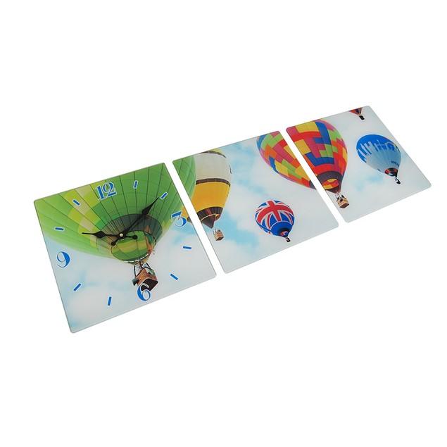 3 Panel Glass Wall Clock - Hot Air Balloon Design Wall Clocks
