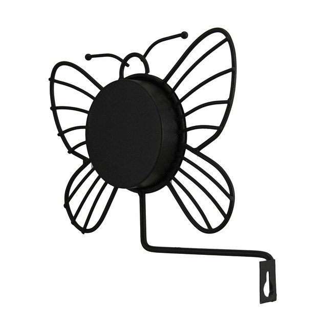 Wrought Iron Wall Mounted Butterfly Outdoor Outdoor Thermometers
