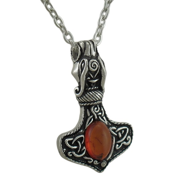 Alchemy Gothic Amber Dragon Thor's Hammer Pendant Mens Pendant Necklaces
