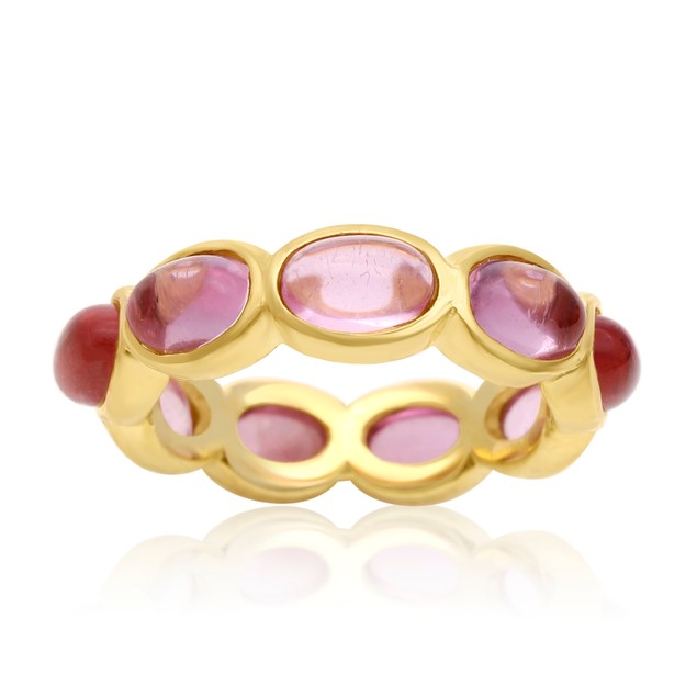14k Yellow Gold 10ct Raspberry Quartz Eternity Ring