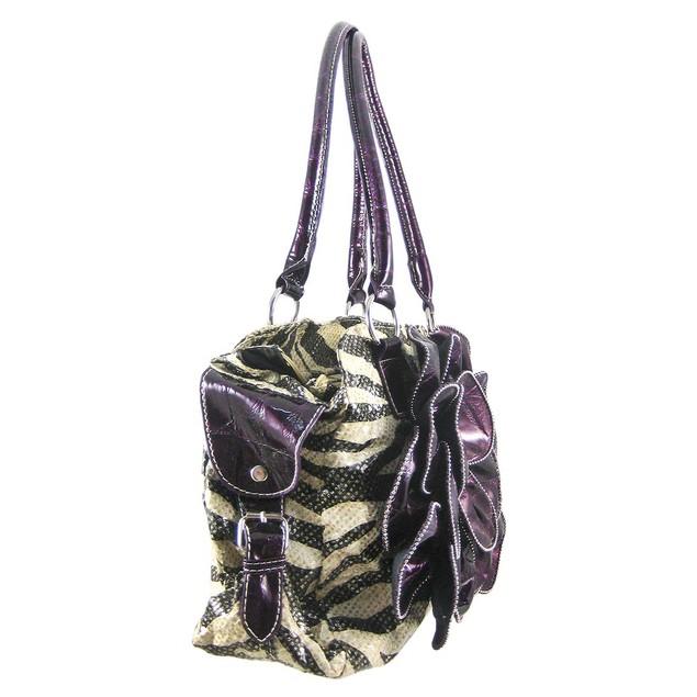 Zebra Print Satchel With Purple Croc Flower/Trim Womens Shoulder Handbags