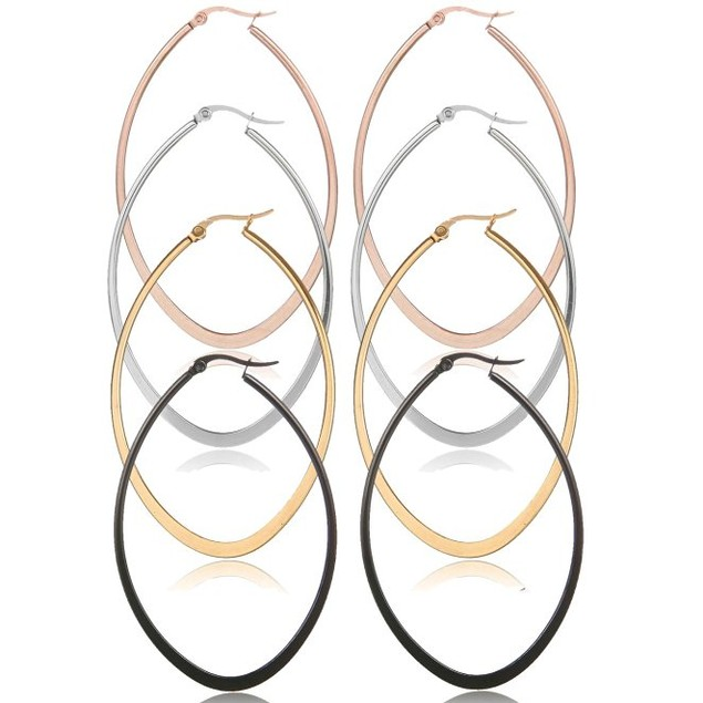 4-Pack: Oval Hoop Earrings in 4 Colors