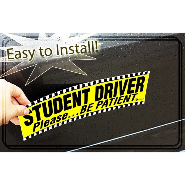 Zone Tech 2x Student Driver Please Be Patient Car Bumper Magnet Decal 12x3""