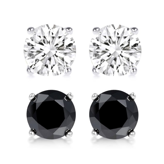 2-Piece Sterling Silver Swarovski Earrings Set