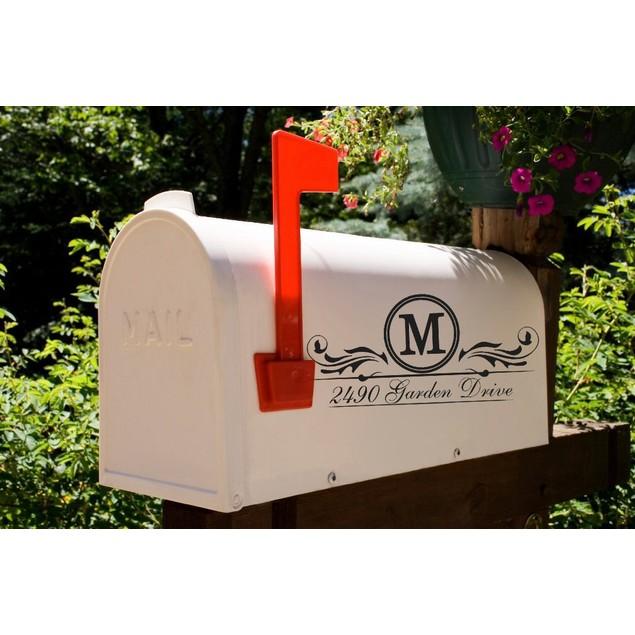 Flourish Initial Mailbox Address Decal