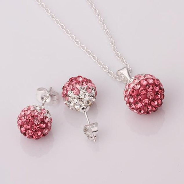 Austrian Stone Multi-Pave Earring Studs and Necklace Set - Pink Crystal