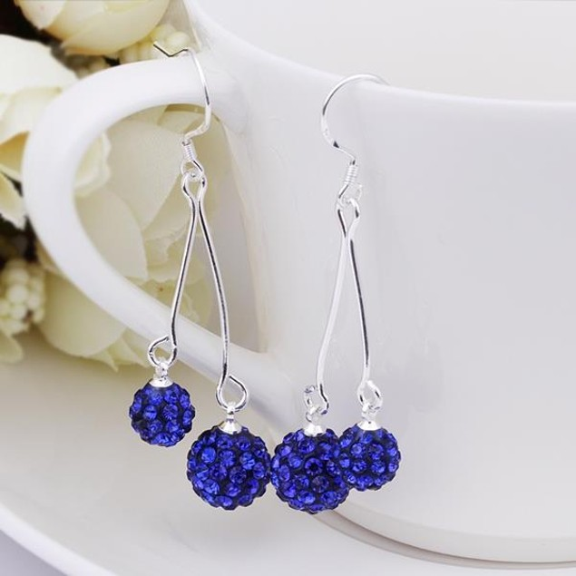 Austrian Stone Drop Earrings -Dark Blue