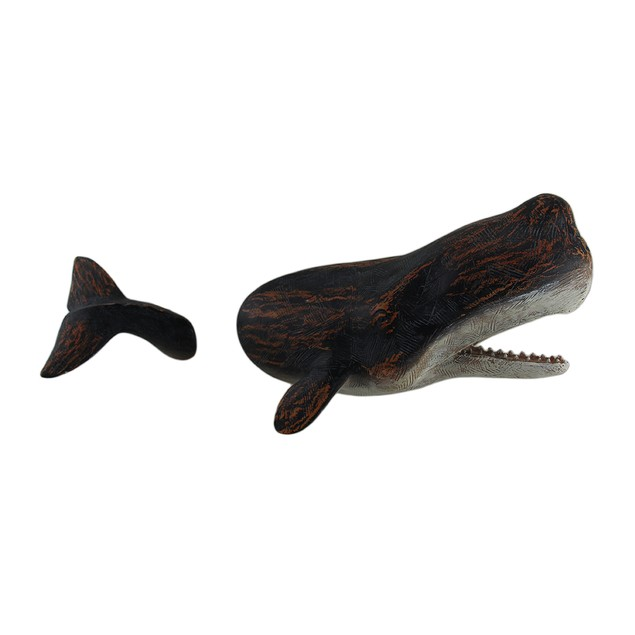 2 Pc. Floating Whale Head And Tail 3D Wall Hanging Wall Sculptures