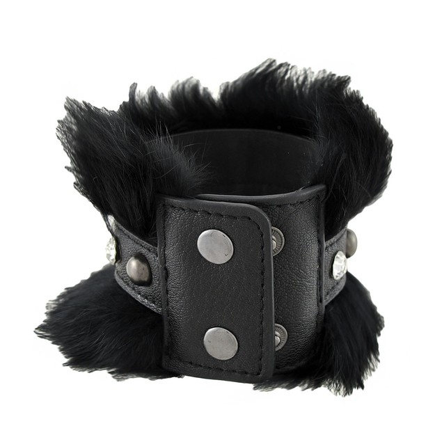 Black Faux Leather Fur And Rhinestone Wristband Mens Leather Bracelets