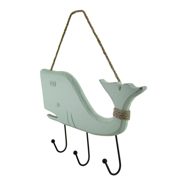 Wooden Blue Whale Wall Plaque With Triple Hooks Decorative Wall Hooks