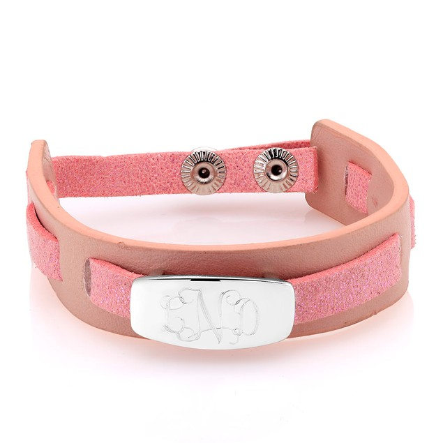 Personalized Monogram Leather Bracelet - 3 Colors