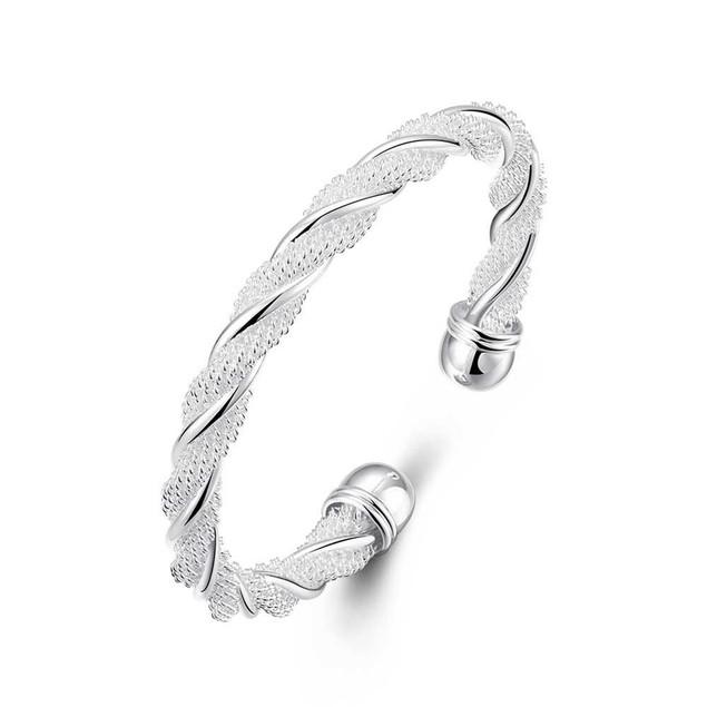 Silver Tone Twisted Cuff Bracelet