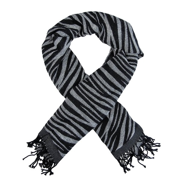 Black / White Zebra Stripe Scarf Shawl Fringed Womens Fashion Scarves