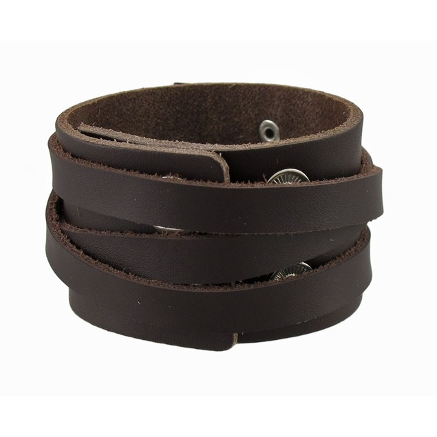 Pair Of 1.5 In. Wide Brown Leather Triple Wrap Mens Leather Bracelets