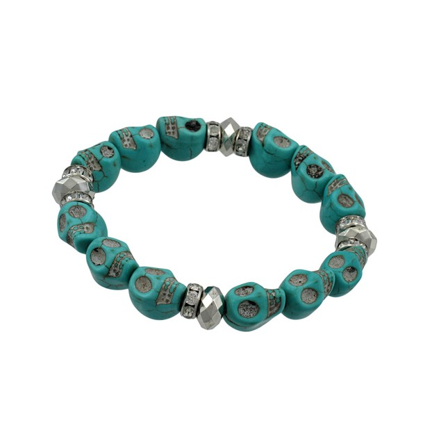 Turquoise Skull Bead Stretch Bracelet Rhinestone Womens Stretch Bracelets
