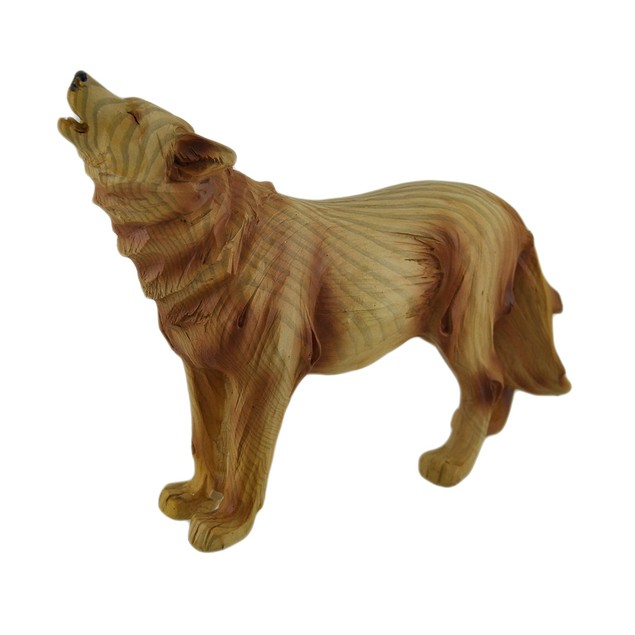 Howling Wolf Decorative Wood Look Statue 9 In. Statues