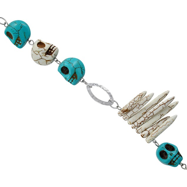 Crackle Finish Turquoise And Bone White Skull And Chain Necklaces