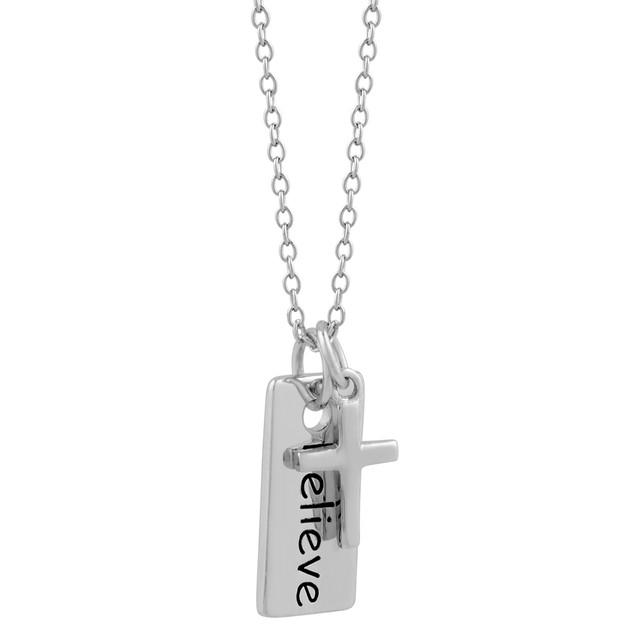 "Inspirational ""Believe Cross"" Charm Necklace"
