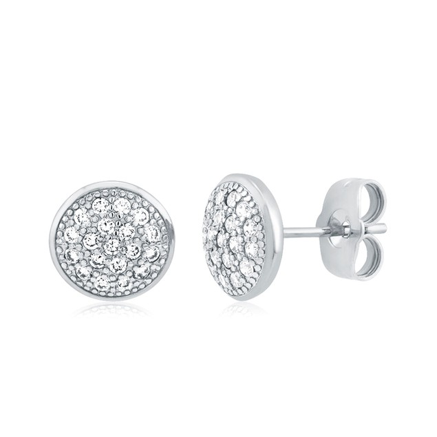 Gold Plated Crystal Round Stud Earrings