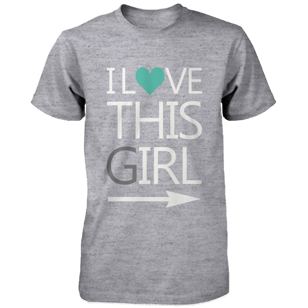 Matching Couple Shirts - I Love This Guy, Girl Grey Cotton Graphic T-shirt