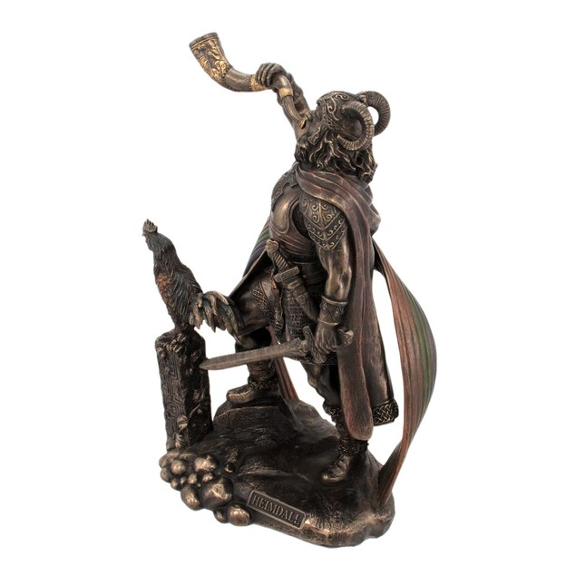 9 1/2 Inch Norse God Heimdall Bronzed Finish Statues