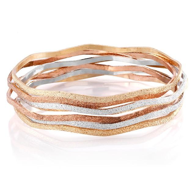 Set of 7 Glitter-Finish Tri Color Bangle Bracelets