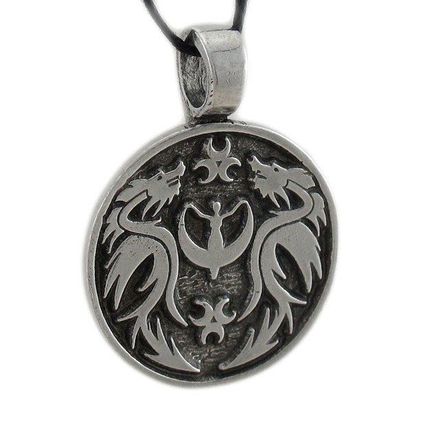 Solid Pewter Crescent Moon Goddess Dragon Pendant Mens Pendant Necklaces