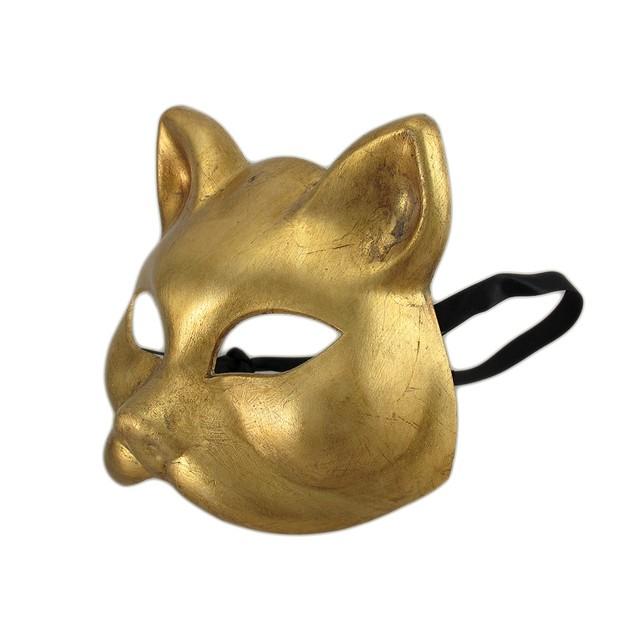 Gold Finish Half Face Carnivale Gatto Cat Masks Mens Costume Masks