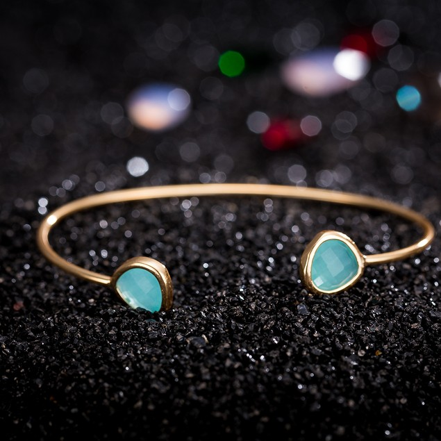 Gold Plated Duo-Dark Turquoise Open Ended Bangle