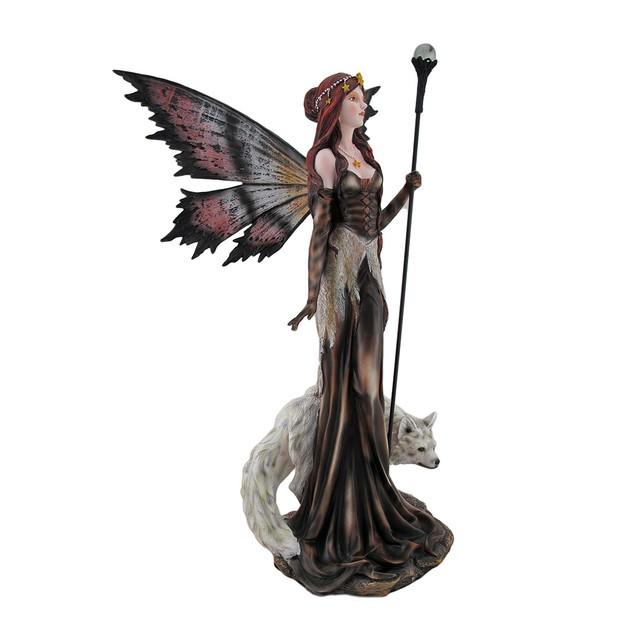 Large Butterfly Fairy Statue With Glass Orb Staff Statues