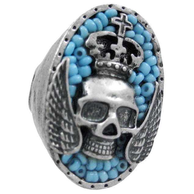 Large Pewter & Blue Bead Winged Skull Stretch Ring Womens Rings