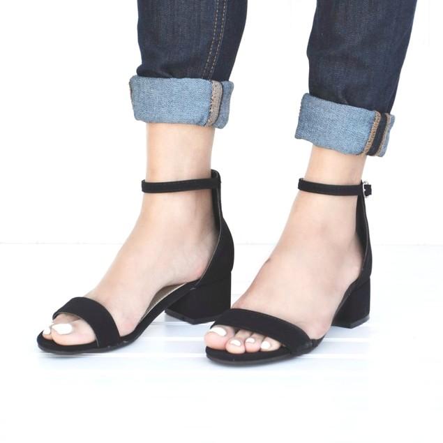 Mata Women's Suede Open Toe Low Block Formal Heel Ankle Strap Sandal
