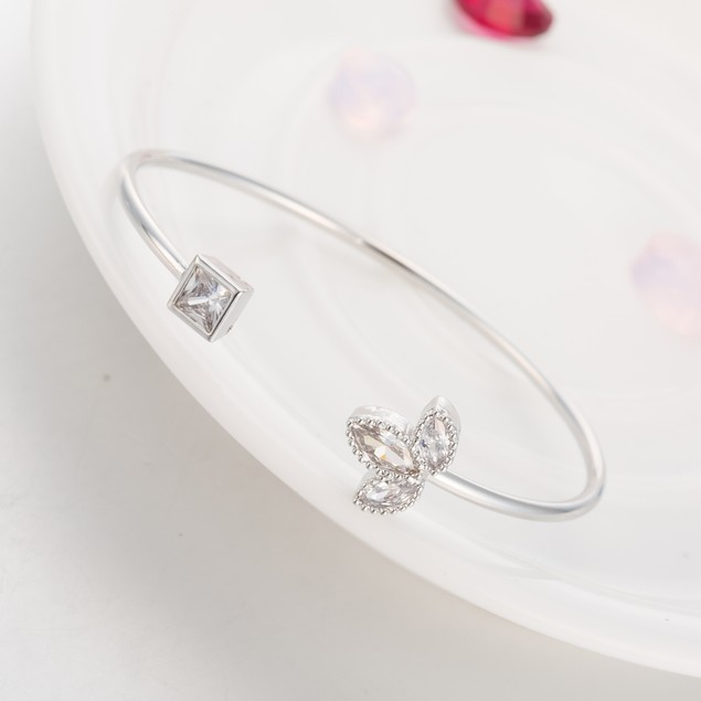 White Gold Plated Clover Swarovski Pave Bangle