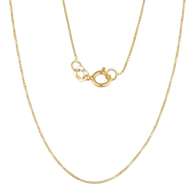 10k Yellow Gold Classic Box Link Chain Necklace