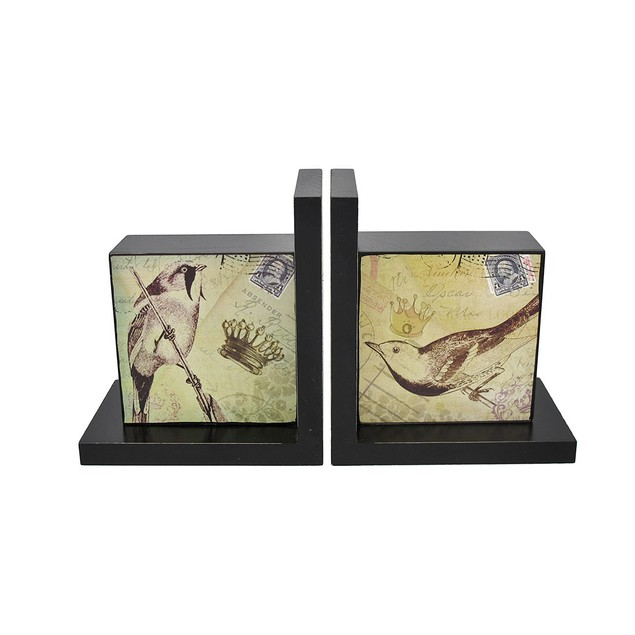 Pair Of Decorative Beautiful Wooden Bird Bookends Decorative Bookends