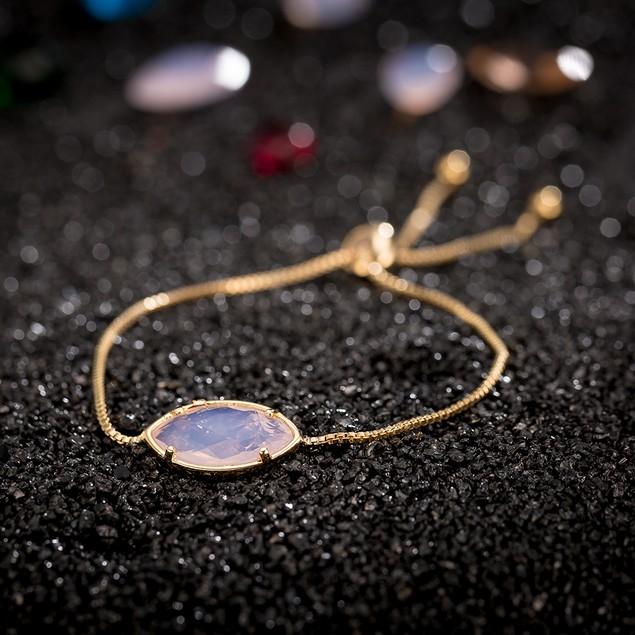 Gold Plated Oval Coral Pink Gem Bracelet