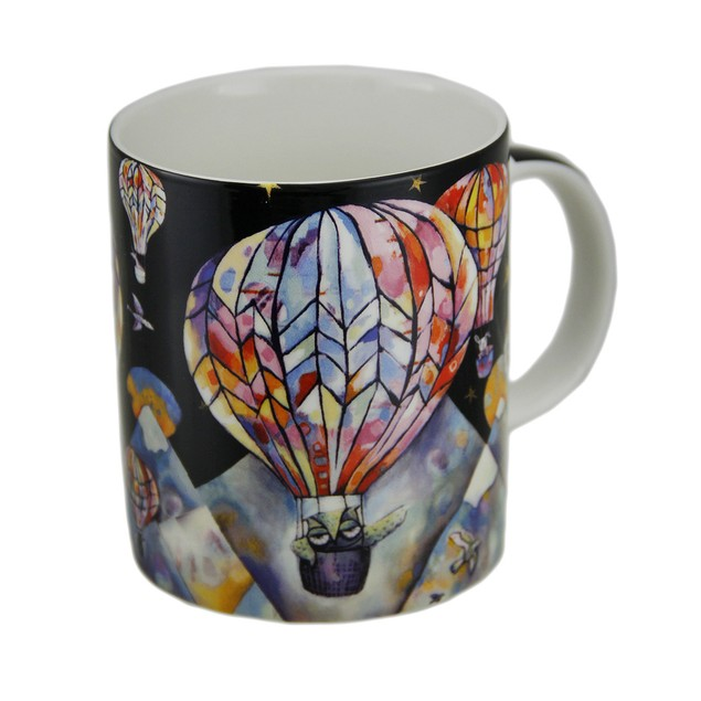 Allen Designs Colorful Hot Air Balloon Ceramic Coffee Cups